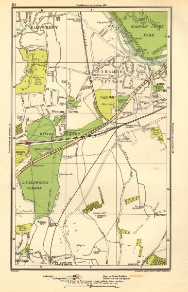 Associate Product THAMES DITTON / LONG DITTON. Esher, East Molesey, Claygate, Harelane 1923 map