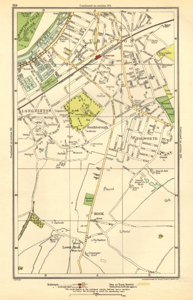 Associate Product SURBITON. Hook, Long Ditton, Tolworth, Southborough, Surbiton 1923 old map