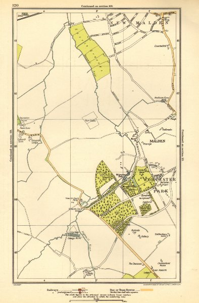 Associate Product NEW MALDEN. Surbiton, Worcester Park, West Ewell, Tolworth,Berrylands 1923 map