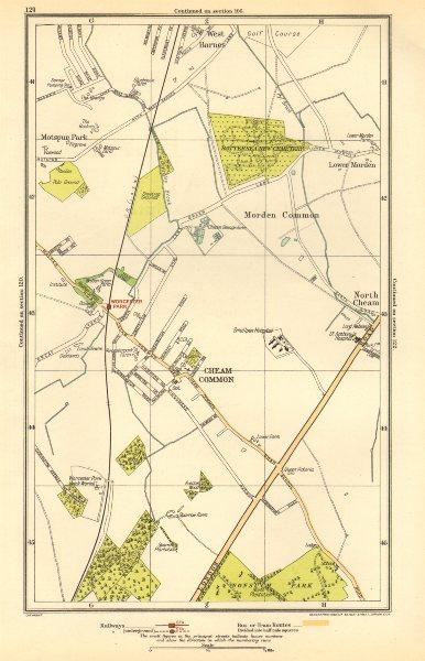 Associate Product CHEAM. Stoneleigh; Worcester, Morden Common, Motspur Park,West Barnes 1923 map