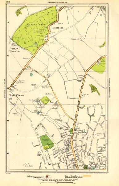 Associate Product SUTTON. Benhilton, North/Lower Morden Park, Cheam, St Helier; Surrey 1923 map