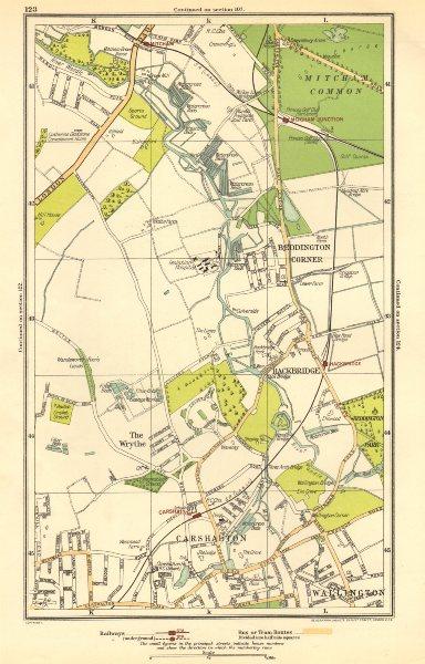 Associate Product CARSHALTON. Wallington, Mitcham Junction,The Wrythe,Sutton,Hackbridge 1923 map