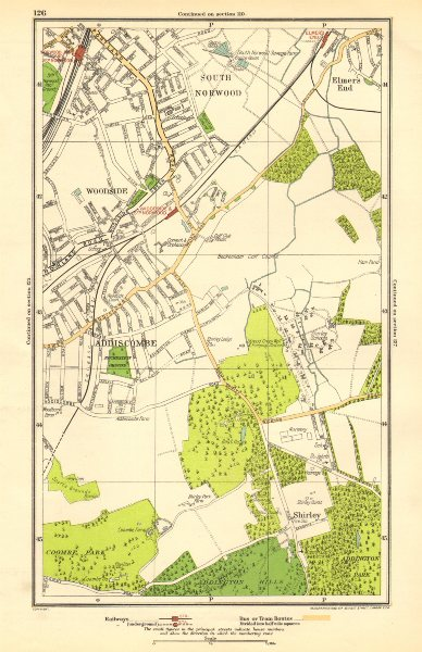 Associate Product CROYDON.Addiscombe,South Norwood/Junction,Woodside,Shirley,Elmers End 1923 map
