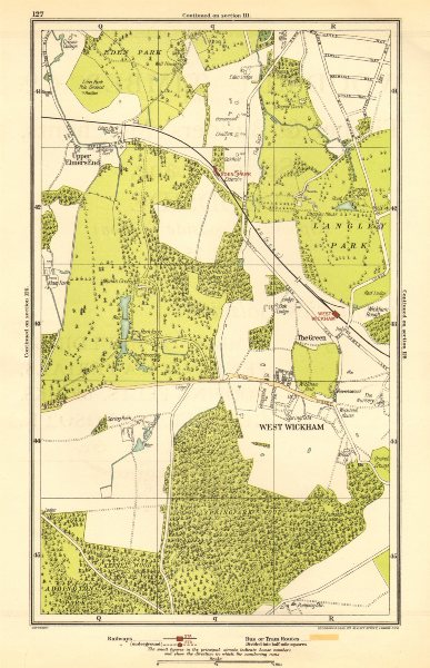 Associate Product LONDON. Upper Elmers End, West Wickham, Eden Park, Spring Park 1923 old map