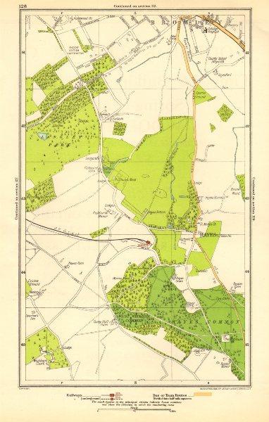 Associate Product KENT. Bromley, Hayes, Beckenham, West Wickham, Shortlands, Keston 1923 old map