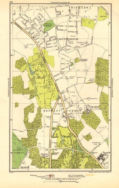 Associate Product BROMLEY COMMON. Keston, Keston Mark, Locksbottom,Southborough,Bromley 1923 map