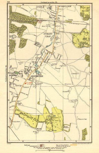 Associate Product ORPINGTON. St Mary Cray, St Paul's Cray, Broom Hill, Goddington 1923 old map