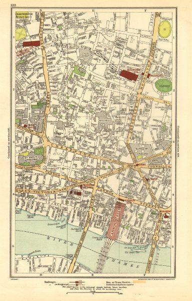Associate Product LONDON. City. Barbican, Moorgate, Bank, Cannon Street 1923 old vintage map