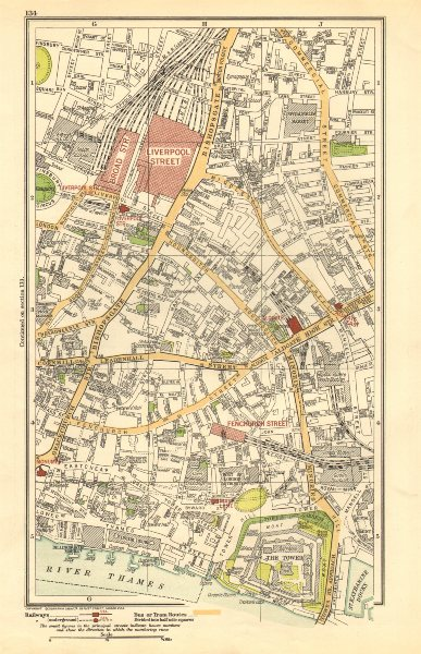 Associate Product LONDON. City. Tower, Liverpool Street, Bishopsgate 1923 old vintage map chart