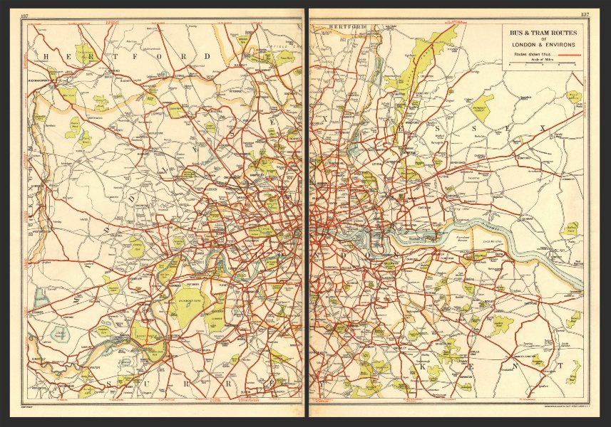 Associate Product LONDON. Bus & Tram Routes of London & Environs 1923 old vintage map plan chart