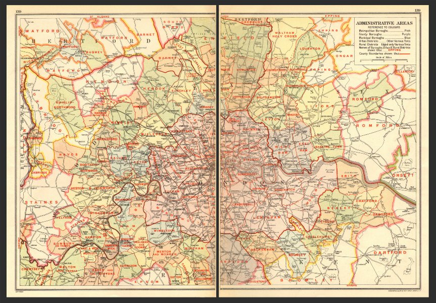 Associate Product LONDON. Administrative Areas; Boroughs & Districts 1923 old vintage map chart