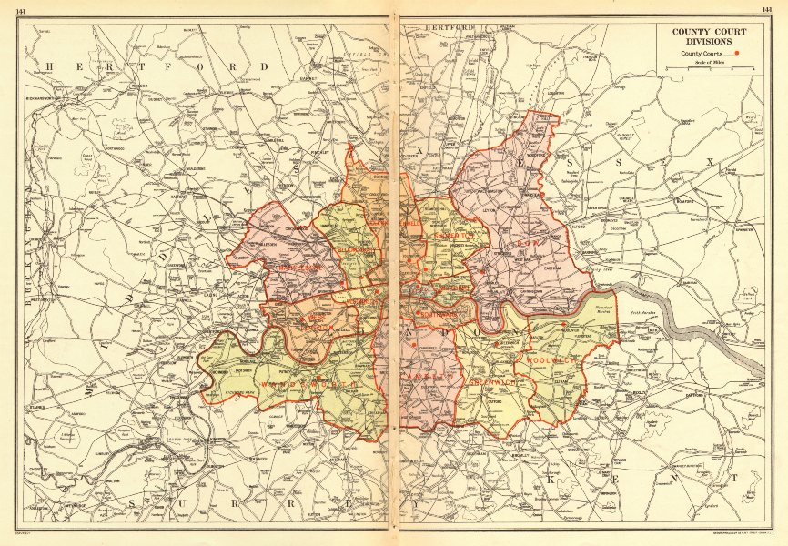 Associate Product LONDON. County Court Divisions 1923 old vintage map plan chart