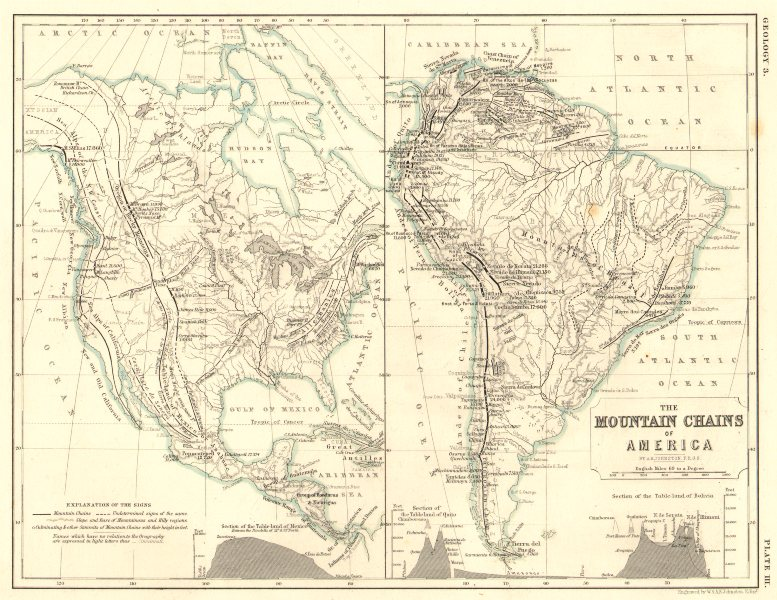 Associate Product AMERICAS. The mountain chains of North & South America 1850 old antique map