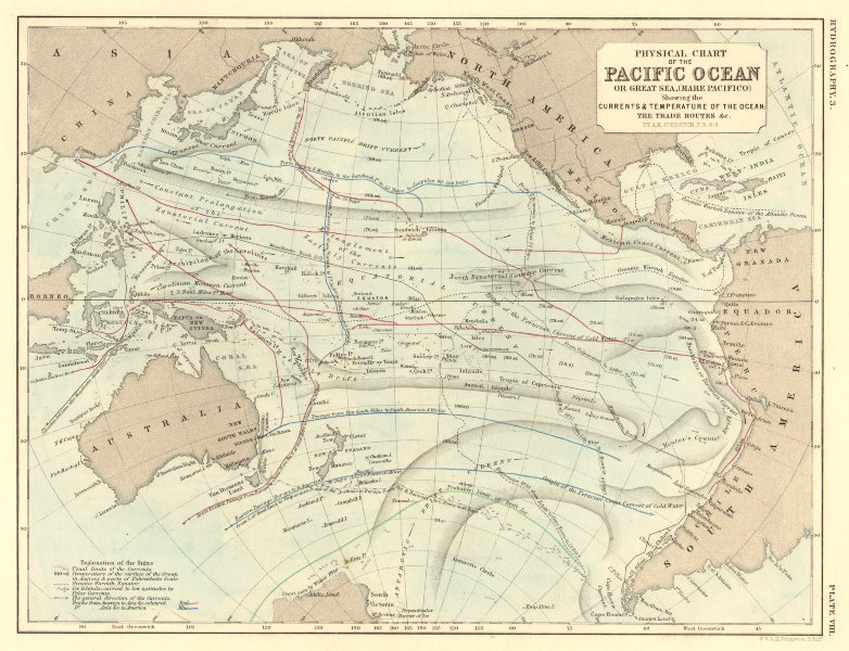 Associate Product PACIFIC OCEAN. Physical chart. Currents, temperature & trade routes 1850 map
