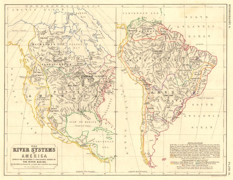 Associate Product AMERICAS.North & South America river systems. Drainage divides/basins 1850 map