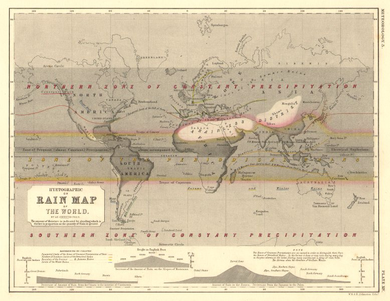 Associate Product WORLD. Hyetographic or rain map of the World 1850 old antique plan chart