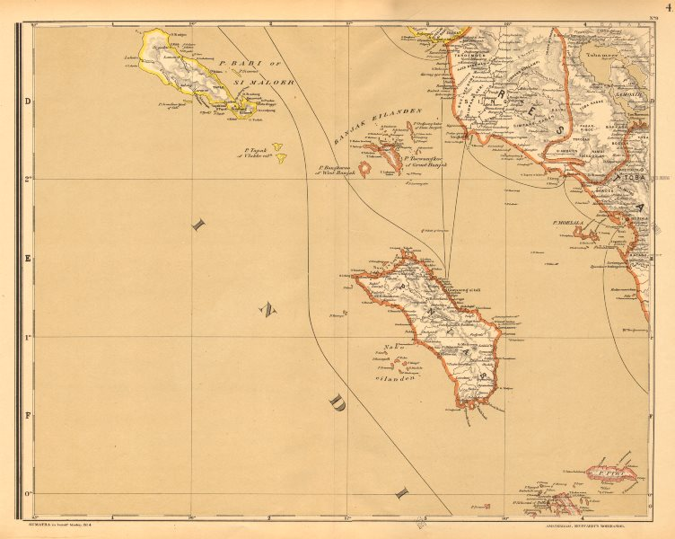 DUTCH EAST INDIES.Indonesia.North SUMATRA Nias Simeulue. DORNSEIFFEN 1892 map