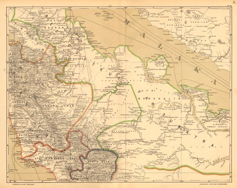 Associate Product DUTCH EAST INDIES.Indonesia.SUMATRA. Malacca Strait. Riau.DORNSEIFFEN 1892 map