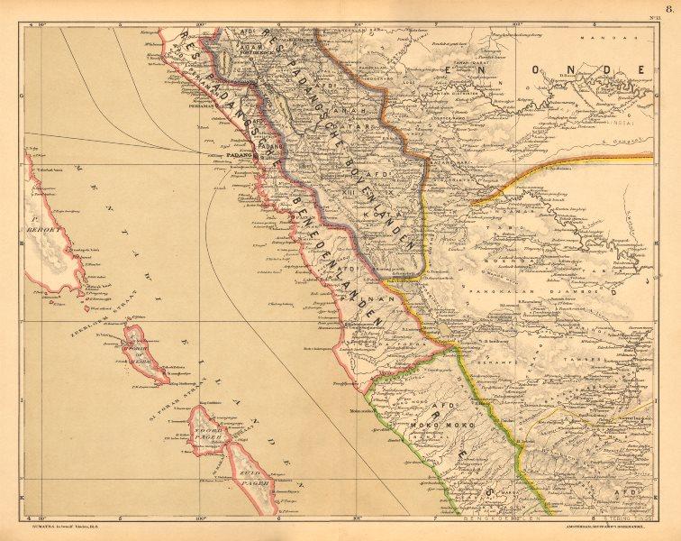 Associate Product DUTCH EAST INDIES.Indonesia.SUMATRA Bengkulu Jambi Padang.DORNSEIFFEN 1892 map