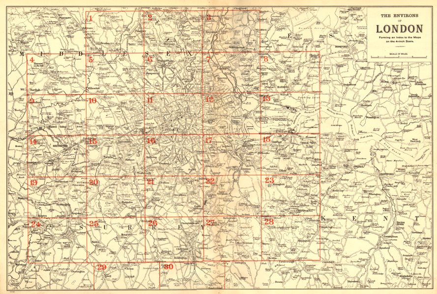 Associate Product GREATER LONDON ENVIRONS. General Index map to detailed maps. BACON 1902
