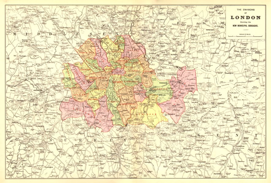 Associate Product GREATER LONDON ENVIRONS. Showing new Municipal Boroughs. BACON 1902 old map