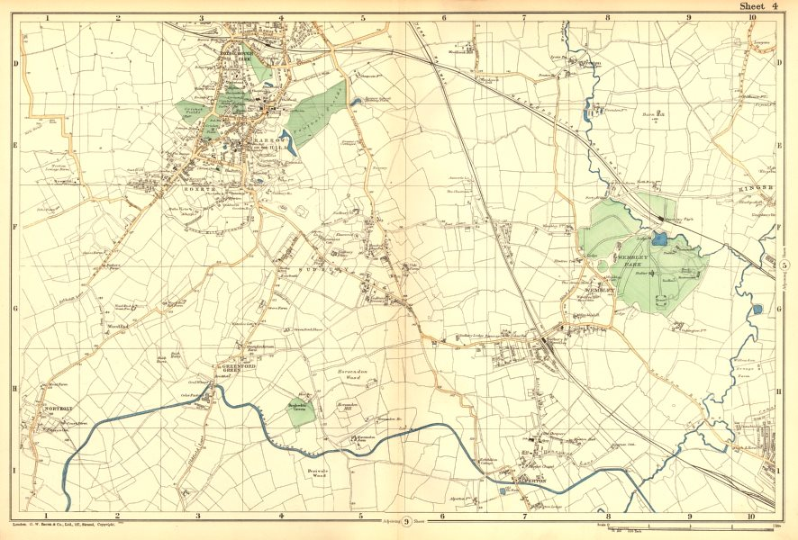Associate Product HARROW WEMBLEY BRENT.Sudbury,Greenford,Northolt,Kenton,Alperton.BACON 1902 map
