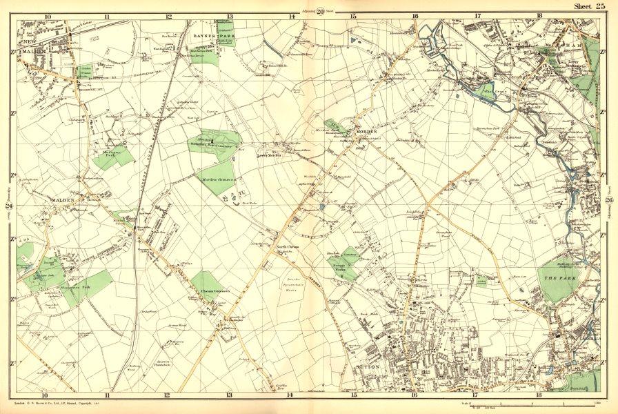 Associate Product SUTTON. Carshalton,Morden,New Malden,Worcester Pk,Mitcham,Cheam.BACON 1902 map