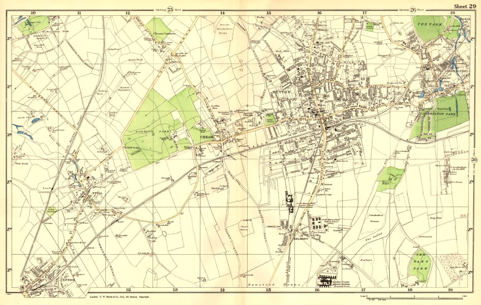 Associate Product SUTTON. Cheam,Epsom,Belmont,Carshalton,Ewell,Banstead Downs.BACON 1902 old map