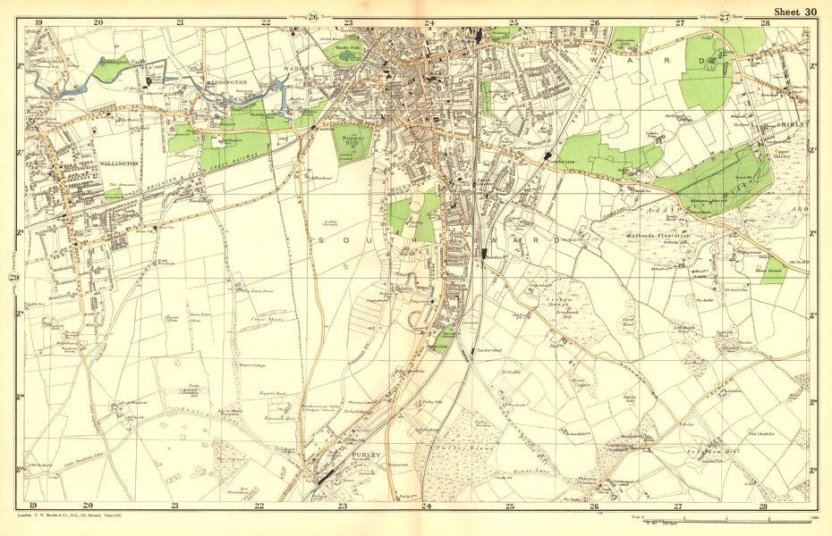 Associate Product SOUTH CROYDON. Carshalton,Wallington,Waddon,Beddington,Purley.BACON 1902 map