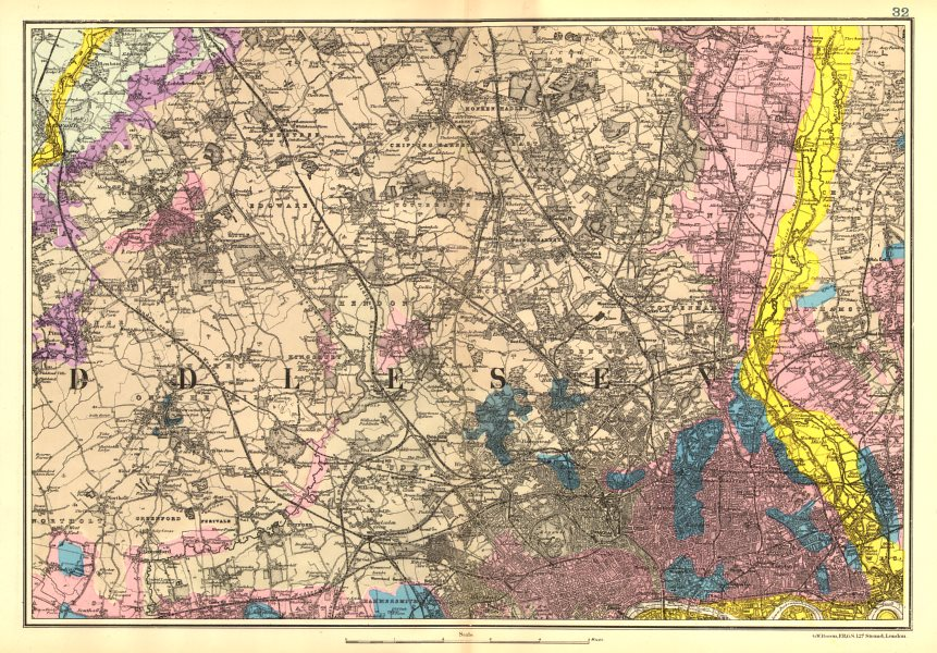 Associate Product NW LONDON GEOLOGICAL. Westminster Islington Brent Ealing Camden.BACON 1902 map