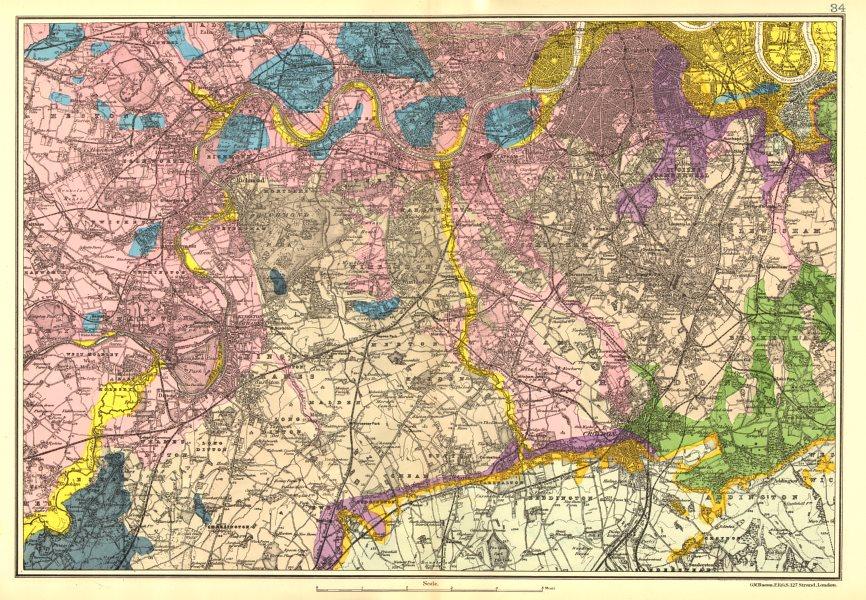 Associate Product SW LONDON GEOLOGICAL. K&C Fulham Surrey Richmond Wandsworth &c. BACON 1902 map