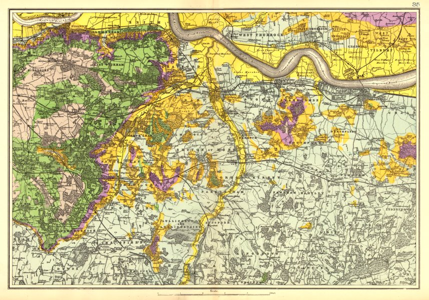 Associate Product SOUTH EAST LONDON GEOLOGICAL. Kent Greenwich Bexley Bromley &c. BACON 1902 map