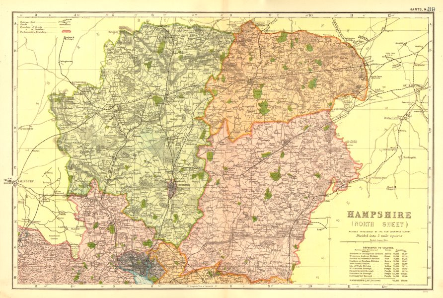Associate Product HAMPSHIRE NORTH. Parliamentary constituencies divisions.Railways.BACON 1902 map