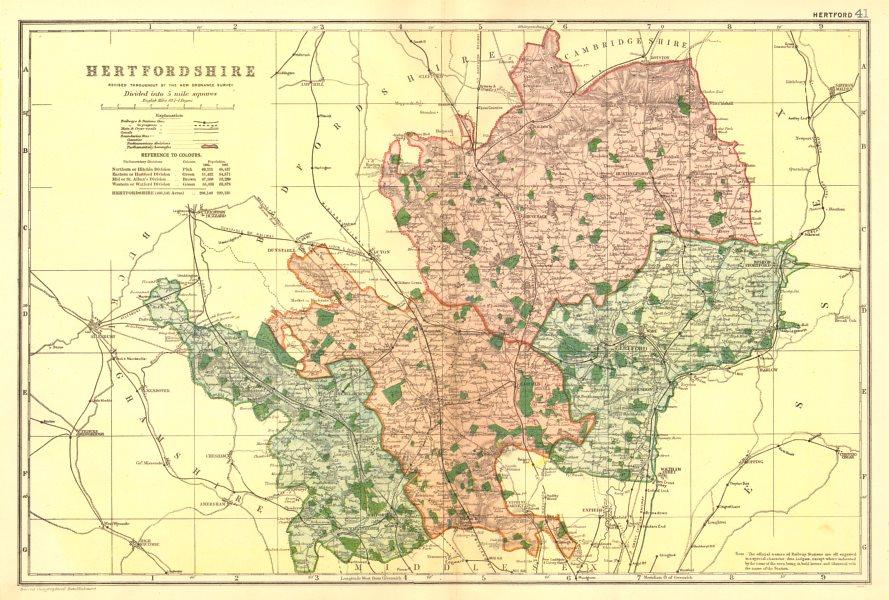 HERTFORDSHIRE. County map. Parliamentary constituencies. Railways. BACON 1902