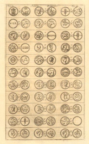 Associate Product British Coins. 'NUMMI BRITANNICI' (I)  from Camden's Britannia 1772 old print
