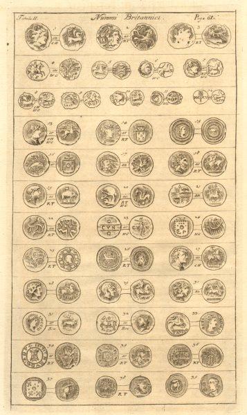 Associate Product British Coins. 'NUMMI BRITANNICI' (II)  from Camden's Britannia 1772 old print