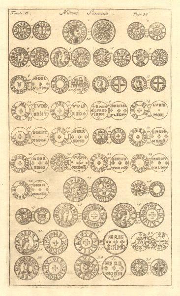 Associate Product Saxon British Coins. 'NUMMI SAXONICI' (II)  from Camden's Britannia 1772 print
