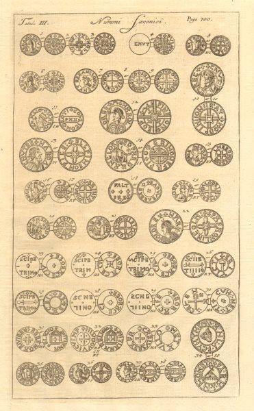 Associate Product Saxon British Coins. 'NUMMI SAXONICI' (III)  from Camden's Britannia 1772