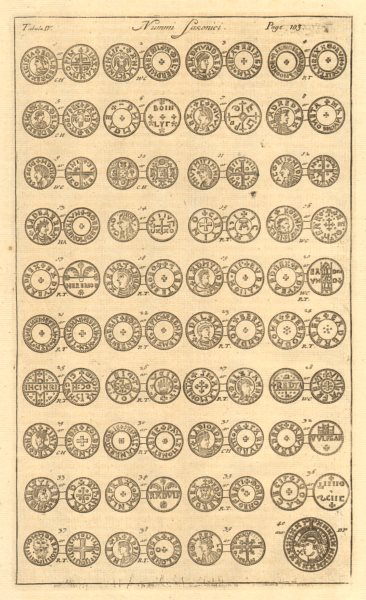 Associate Product Saxon British Coins. 'NUMMI SAXONICI' (IV)  from Camden's Britannia 1772 print