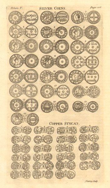 Associate Product Saxon British Coins. 'SILVER COINS. COPPER STYCAS' from Camden's Britannia 1772