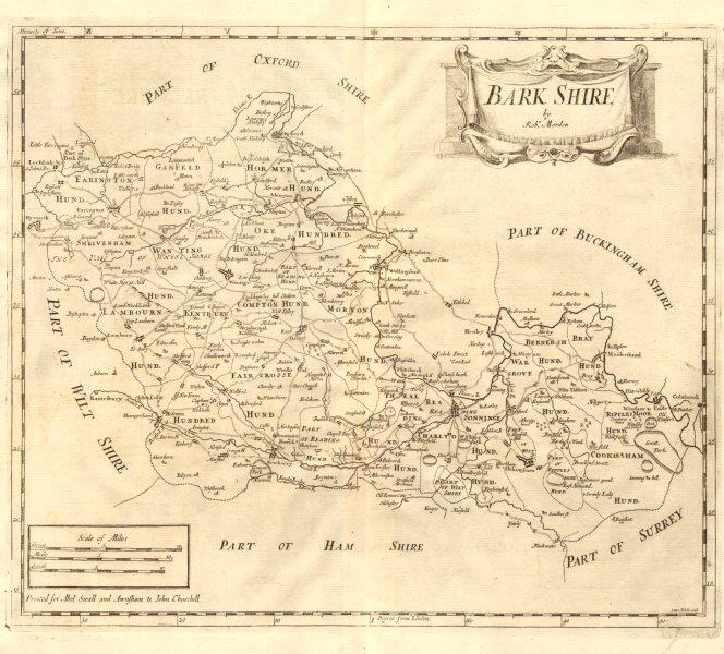 Associate Product Berkshire. 'BARK SHIRE' by ROBERT MORDEN from Camden's Britannia 1772 old map