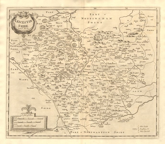 Associate Product LEICESTERSHIRE. by ROBERT MORDEN from Camden's Britannia 1772 old antique map