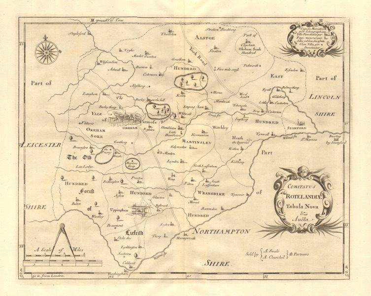 Associate Product Rutland. 'COMITATUS ROTELANDIAE' by ROBERT MORDEN. Oakham & Uppingham 1772 map