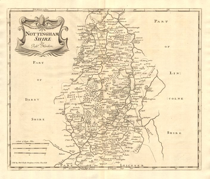 Associate Product NOTTINGHAMSHIRE. by ROBERT MORDEN from Camden's Britannia 1772 old antique map