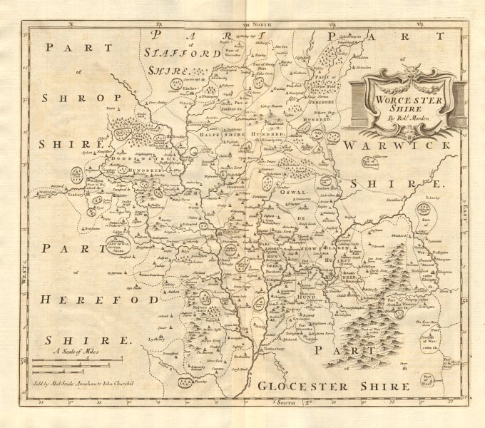 Associate Product WORCESTERSHIRE. by ROBERT MORDEN from Camden's Britannia 1772 old antique map