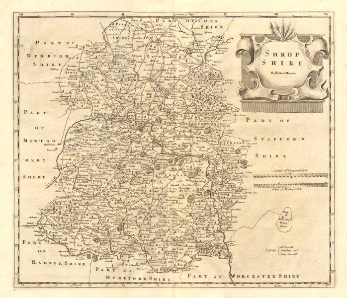 Associate Product Shropshire. 'SHROP SHIRE' by ROBERT MORDEN from Camden's Britannia 1772 map