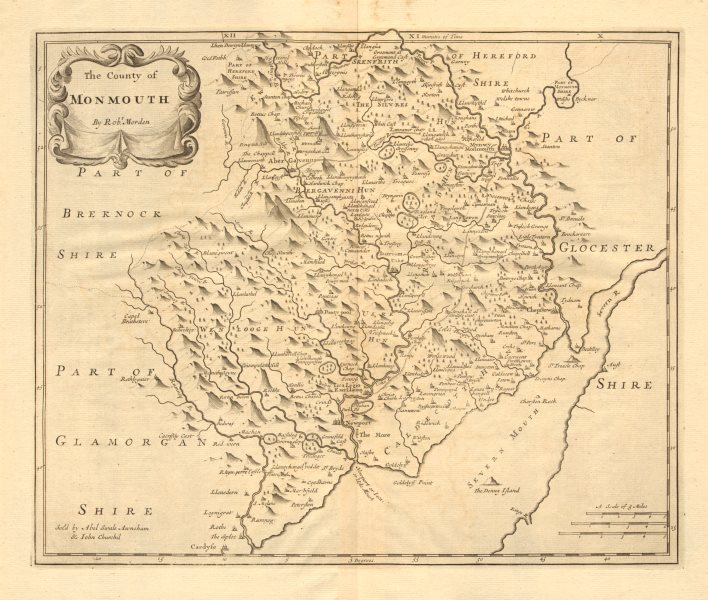 Associate Product Monmouthshire. 'COUNTY OF MONMOUTH'. ROBERT MORDEN.Camden's Britannia 1772 map