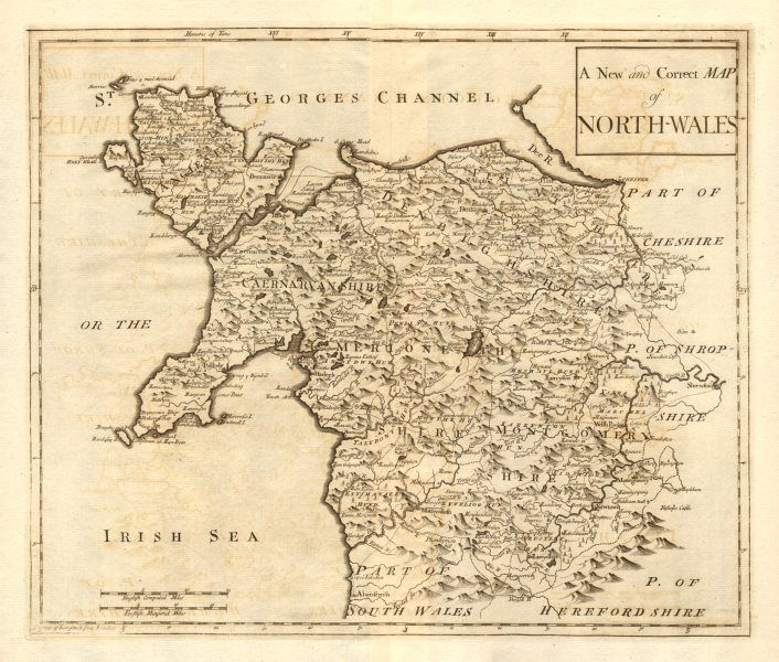Associate Product NORTH WALES. by ROBERT MORDEN from Camden's Britannia 1772 old antique map