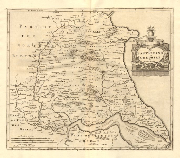 Associate Product EAST RIDING OF YORKSHIRE. by ROBERT MORDEN from Camden's Britannia 1772 map