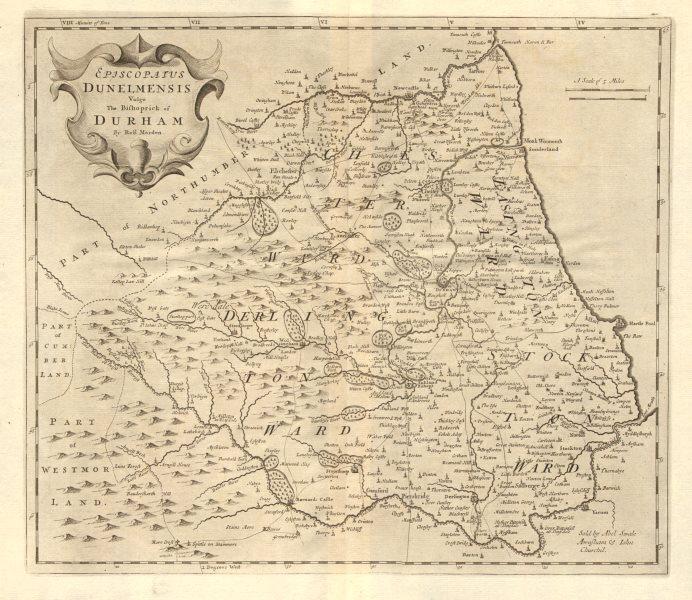 Bishopric of Durham. 'EPISCOPAIUS DUNELMENSIS' by ROBERT MORDEN 1772 old map